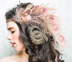 pink feather headband - Gatsby wedding - Dusty Rose Nymph Peacock Feather Flapper by BaroqueAndRoll on Etsy, $138.00