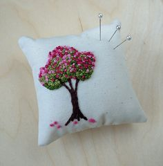 Hand Embroidered Pin Cushion / Mini Pillow Blossom Tree by mbSTITCH Copyright Margaret Belton