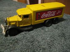 REPRO CAST IRON VINTAGE COCA-COLA DELIVERY TRUCK - YELLOW - 8.5 INCHES