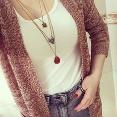 Shapes And Colors Layered Necklace #ootd #style #fashion #chic #layerednecklace - 15,90 @happinessboutique.com