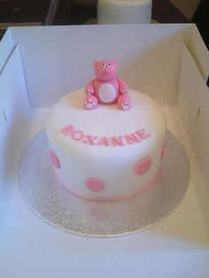 Girls christening cake pink bear cake www.meloscakes.co.uk