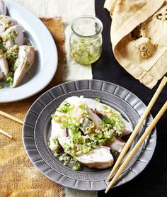kylie kwong chicken and spring onions ... yum