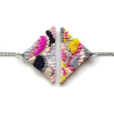 Hand embroidered Triangle Necklace / Grey Pink Fuchsia by jujujust
