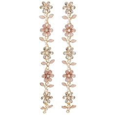 Charlotte Russe Embellished Floral Chandelier Earrings ($6) ❤ liked on Polyvore featuring jewelry, earrings, gold, charlotte russe jewelry, post back earrings, charlotte russe earrings, rhinestone earrings and chandelier earrings