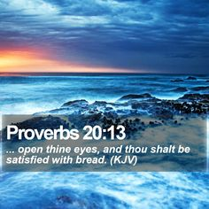 Proverbs 20:13   ... open thine eyes, and thou shalt be satisfied with bread. (KJV)   #Apologetics #Wallpaper #Backgrounds #PositiveQuote #OurDailyBread   http://www.bible-sms.com/
