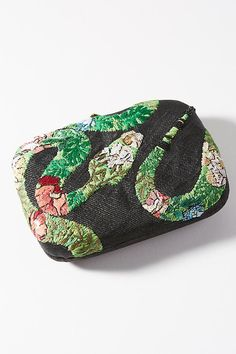 Embroidered Snake Clutch