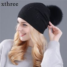 65eae6d2c1203d Xthree winter hat for women Rabbit fur wool knitted hat beanies real mink  and fox fur