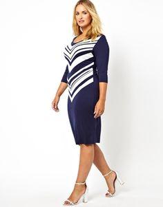 Junarose Graphic Stripe Print Midi Body-Conscious Dress $42.19