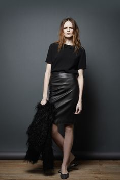 The Row Pre-Fall 2011 look #9. Love the high waisted leather pencil skirt and of course the peter pan collar