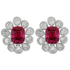 14.69 Carat Pink Spinel Diamond Gold Cluster Earrings