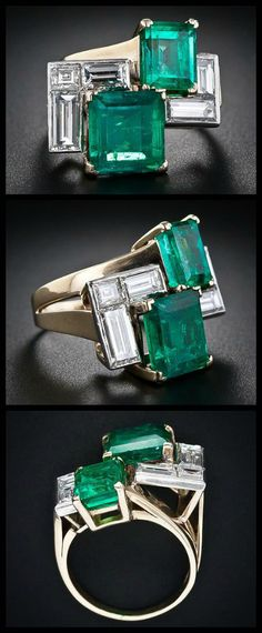 A fabulous retro emerald and diamond ring at Lang Antiques.