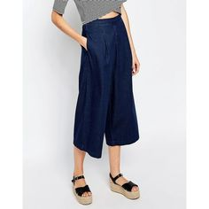 Warehouse Denim Culotte (265 QAR) ❤ liked on Polyvore featuring pants, capris, navy, loose pants, loose fitting pants, elastic waistband pants, side zip pants and denim trousers
