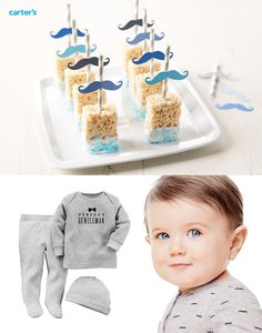 Yummy baby shower treat inspired by our new Perfect Gentleman Collection. Dip rice crispies treats in white chocolate, add blue sprinkles and stripey straw with bowtie.