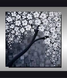 ORIGINAL Textured Art Contemporary Black and White by ZarasShop, $199.00
