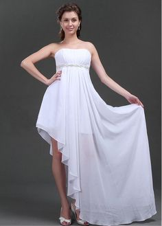 SIMPLY CHIFFON EMPIRE STRAPLESS NECKLINE EMPIRE WAITLINE WEDDING DRESS WITH APPLIQUES BEADINGS LACE BRIDESMAID