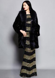AVANTE Fur Coat with Fox Fur Trim