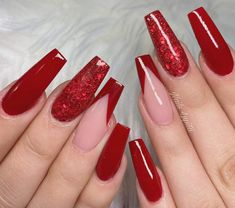 Cute Red Nails, Long Red Nails, Red Ombre Nails, Dope Nails, Acrylic Nails Coffin Pink, Simple Acrylic Nails, Acrylic Nail Designs, Red Nail Designs, Classic Nails