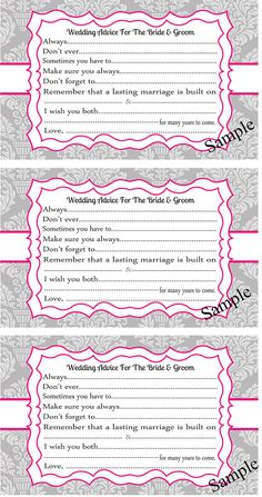 Wedding Advice Cards for the Bride and Groom by DIGIArtPrints, $8.00