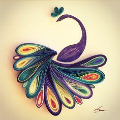 sena runa paper quilling art colourful joy happy peacock