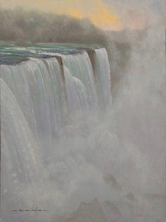 """Niagara Haze, Proverbs 3:5,"" Thomas Kegler, oil, 12 x 9"", available though the artist. Art Thomas, Proverbs 3, Oil Water, Natural Wonders, American Artists, Continents, Niagara Falls, Waterfall, Outdoor"
