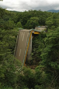Collapsed bridge, Japan. Google Street View doesn't go there.