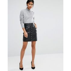 Y.A.S Lexu Leather Skirt ($230) ❤ liked on Polyvore featuring skirts, mini skirts, black, leather mini skirt, high waisted skirts, leather skirt, high-waisted skirts and high waisted mini skirt