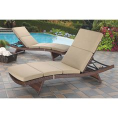 Costco Aloha Wicker Chaise Lounge with Cushion 2-pack  sc 1 st  Pinterest : sunbrella chaise lounge cushions costco - Sectionals, Sofas & Couches