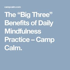 "The ""Big Three"" Benefits of Daily Mindfulness Practice – Camp Calm."