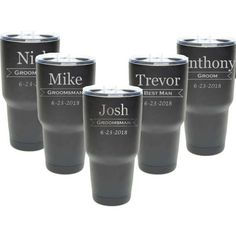 Groomsmen Tumbler - 30 oz - Set of 4 - Stainless Steel Personalized Custom Engraved with Clear Lids - Choice of Colors, Design & Spill Proof Slide Lids - Wedding, Bridal Party Gift - Wedding Wedding Cups, Gifts For Wedding Party, Party Gifts, Wedding Ideas, Wedding Stuff, Wedding Things, Dream Wedding, Wedding Black, Wedding Glasses