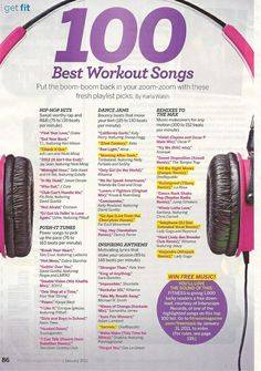 100 best workout songs @Megan Ward Swartz; I'm a huge music fan, but not while I'm working out; no music=better concentration ( for me anyways )