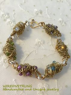 Peridot Brass and Sterling silver Chaos Bracelet by WirednStrung