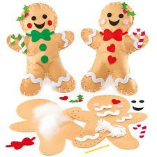 Gingerbread Man Cushion Felt Sewing Kits for Children to Make (Pack of 2)