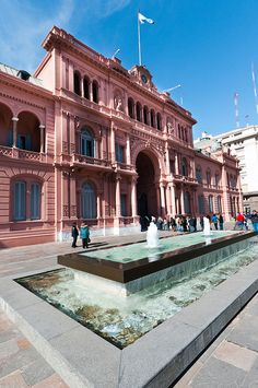 "Casa Rosada in Buenos Aires; this is the official residence of the president of Argentina. If you've seen Evita, the balcony on the third floor is the location of the song ""Don't Cry for Me, Argentina."""