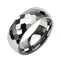 8mm or 6mm Tungsten Honeycomb Facet Comfort Fit Wedding Band Ring Sz 5-13 TW by ModernMintShop on Etsy https://www.etsy.com/listing/193773153/8mm-or-6mm-tungsten-honeycomb-facet