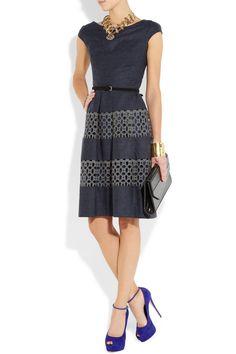 Lela Rose Wool-blend and cotton-lace dress