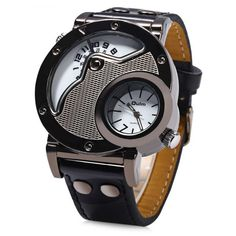 Oulm Men's Quartz Cool Military Wrist Watch Dual Movt Round Shaped Leather Band #>=#>=#>=#>=#> Click on the pin to check out discount price, color, size, shipping, etc. Save and like it!