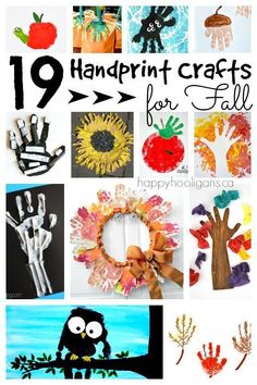 19 Handprint crafts for fall:  A terrific collection of fall crafts for toddlers, preschoolers and kindergarten students.  Easy and adorable art projects for the classroom or daycare for autumn.  - Happy Hooligans