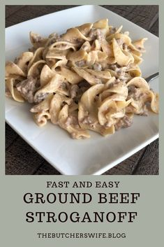 Fast and Easy Ground Beef Stroganoff is comfort food meant for kids! This dish has a creamy sauce with ground beef paired with the tender noodles. Hamburger Stroganoff, Easy Ground Beef Stroganoff, Crock Pot Stroganoff, Easy Stroganoff Recipe, Fast Easy Meals, Easy Dinners, Pasta, Beef Dishes, Cooking Recipes