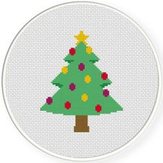 FREE for Oct 25th 2015 Only - Decorative Christmas Tree Cross Stitch Pattern
