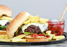 Blue Cheese Burger with Tomato-Shallot Jam