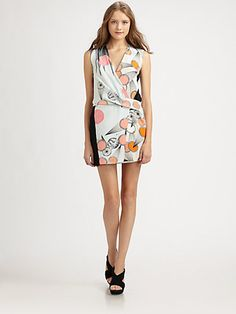 Diane von Furstenberg - Jamie Silk Dress, part floral, part mod. Love the graphic contrast on the back.
