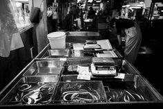 Buckets and scale, Tsukiji Fish Market, Tokyo | by fabiolug