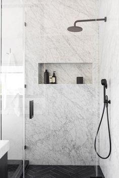 San Francisco Apartment | Interior Design - Bathroom - Marble - Shower #NICOLEHOLLIS Photo by Laure Joliet