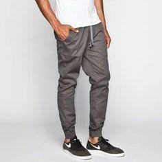 JOGGER Men Elastic Waist Drop Crotch Twill Harem Trousers ...