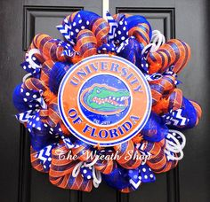 University of Florida Gators Wreath - Blue and Orange Mesh.