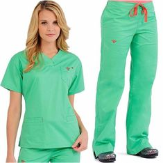 Nursing Student Stress People Product - All For Simple Hair Cute Scrubs Uniform, Scrubs Outfit, Nursing Wear, Nursing Clothes, Maternity Nursing, Scrubs Pattern, Stylish Scrubs, Green Scrubs, Medical Scrubs