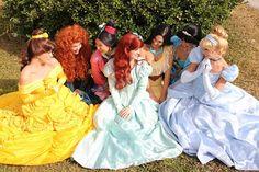 Belle, Merida, Mulan, Ariel, Pocahontas, Jasmine, and Cinderella having a Princess Meeting...