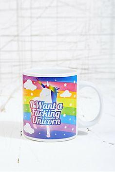 Tasse avec inscription « I Want a Unicorn »