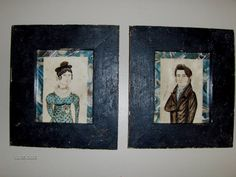 Pair of wonatercolor portraits of an 1820 couple by Steve Shelton. (SOLD)