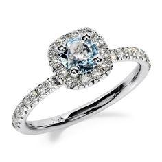 14K Gold Round Cut Aquamarine and Diamond by JewelersEnterprise